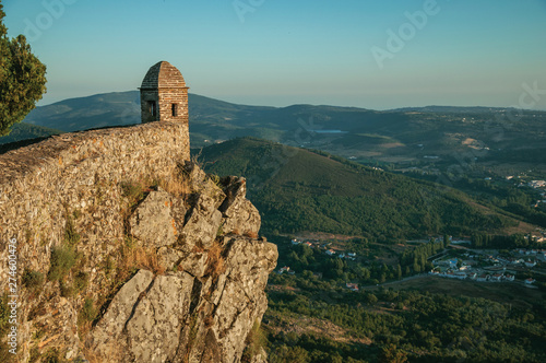 Watchtower made of bricks over cliff in Marvao Fototapet