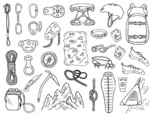 Set Of Hand-drawn Climbing Icons Isolated On White Background. Doodle Black And White Vector Illustration Of Equipment, Tools And Accessories For Alpinism And Mountaineering