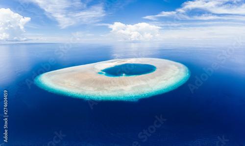 Aerial idyllic atoll, scenic travel destination Maldives Polinesia Canvas Print