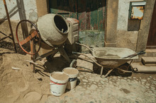 Cement Mixer With Pushcart And...