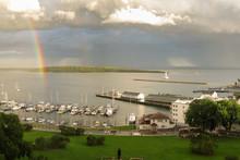 Rainbow In A Harbor