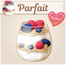 Parfait Dessert With Berries Icon. Cartoon Vector Illustration. Series Of Food And Drink And Ingredients For Cooking