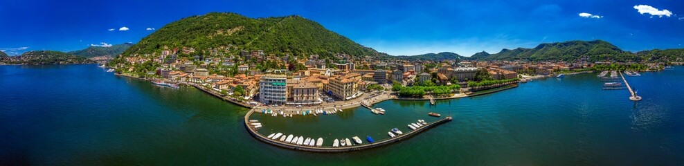 Fototapeta na wymiar Como town on the Lake Como surrounded by mountains in the Italian region Lombardy, Italy, Europe