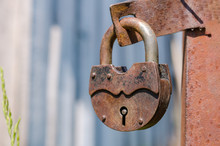 Old Rusty Padlock On A Closed ...