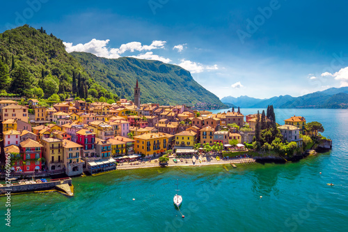 Fotografie, Obraz Aerial view of Varena old town on Lake Como with the mountains in the background