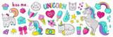 Fototapeta Dinusie - Doodle unicorn stickers. Pop art fashion elements, modern trendy comic 90s icons. Vector cute cartoon rainbow cat heart star cupcake retro set