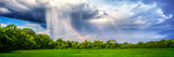 Fototapeta Tęcza - Rain And Rainbow Over Rural Landscape With Trees And Plant Crop