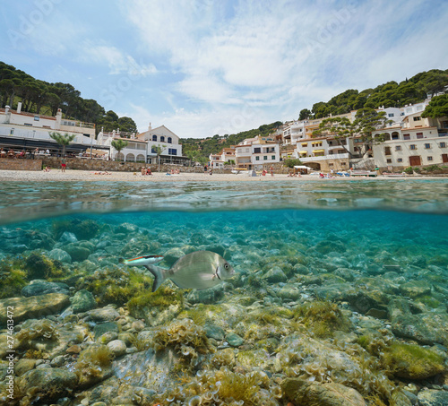 Foto op Aluminium Kust Spain beach shore in a Mediterranean village on Costa Brava with fish and rocks underwater, Sa Tuna, Begur, Catalonia, split view half over and under water
