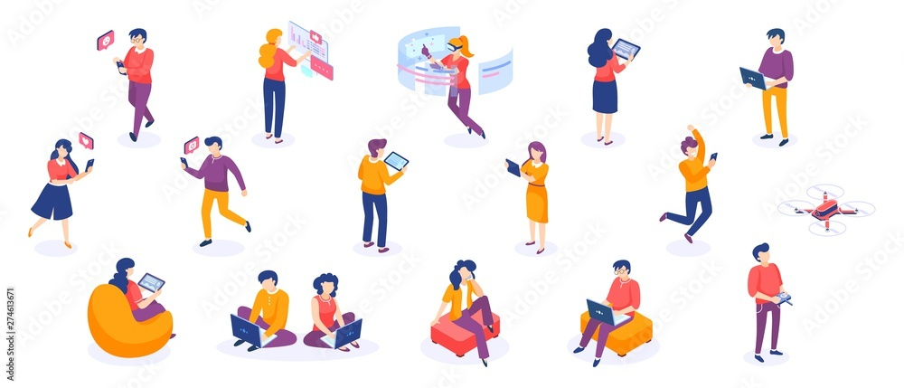 Fototapeta Isometric people and gadgets. Young men and women characters with smartphones and gadgets. Vector modern freelance business people on white background