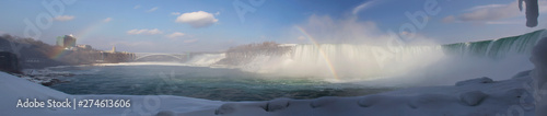 Fotografie, Obraz Niagara Falls Panorama in Winter, from the bottom of the Canadian side