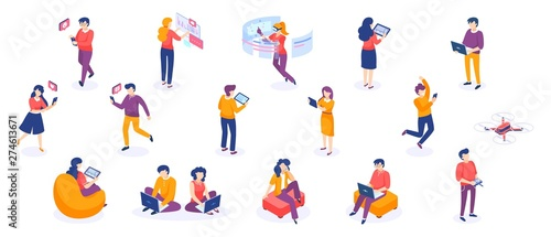 Fototapeta Isometric people and gadgets. Young men and women characters with smartphones and gadgets. Vector modern freelance business people on white background obraz