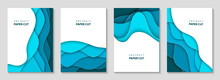 Vector Vertical Flyers With Blue Paper Cut Waves Shapes. 3D Abstract Paper Style, Design Layout For Business Presentations, Flyers, Posters, Prints, Decoration, Cards, Brochure Cover, Banners.