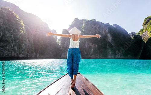 Beautiful woman making an excursion to phi phi island and maya beach in Thailand Canvas Print