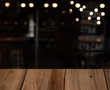 blurred cafe restaurant club background with wooden table