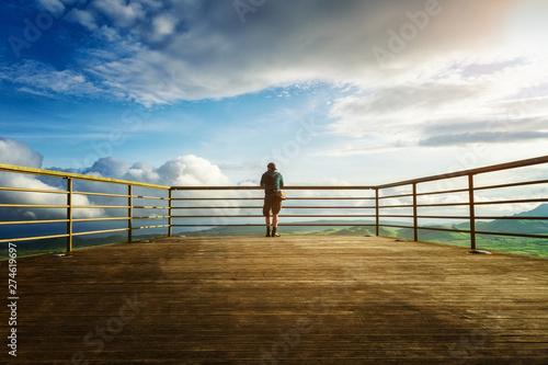 Fotografia, Obraz Man alone on viewpoint Azores