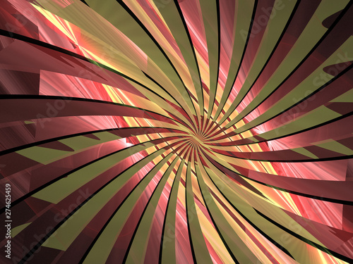 Abstract Red Green Spiral Background Image, Illustration - Infinite repeating spiral, color vortex. Recursive symmetrical patterns of colorful warped shapes, abstract twisted geometric patterns