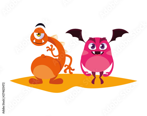 Poster Oiseaux, Abeilles funny monsters couple comic characters colorful