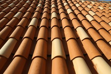 Red Tile Roof. Roof Tiles On The Roof