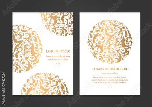 Gold and white vintage greeting card design Wallpaper Mural
