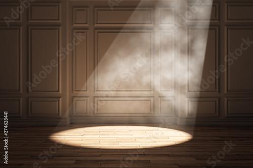 Fotografiet  Wooden interior with spotlight