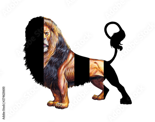 Lion hand painted. Unusual lion statue. Big cat acrylic illustration. Wall mural