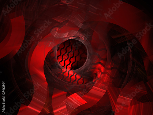 Abstract Digital Illustration - Red Geometric Wave Pattern Design, Symmetrical Geometric Patterns, Circles and Wave Formations, Vibrant Glowing Colors, Detailed Curvy Line Patterns