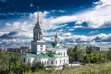 Russia.  Yekaterinburg.  Orthodox Church Against The Blue Sky .