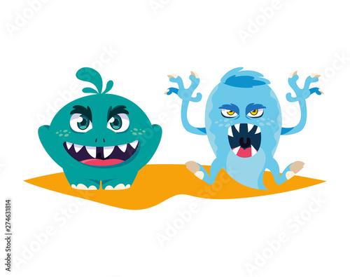 Deurstickers Schepselen funny monsters couple comic characters colorful