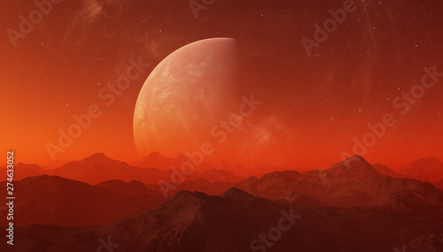 Foto op Canvas Baksteen 3d rendered Space Art: Alien Planet - A Fantasy Landscape with red skies and stars