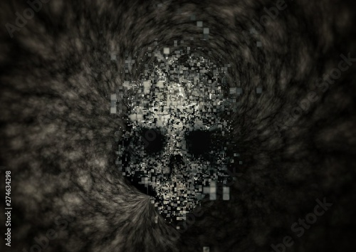 Vászonkép  Abstract skull floating in stagnant smoke