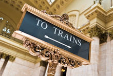 Train Sign At Union Station Chicago