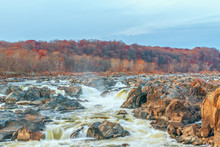 View Of Great Falls Of The Potomac River From Olmsted Island In Autumn.Maryland.USA