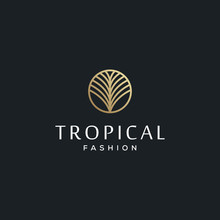 Tropical Palm Leaves For Fashion Brand Vector Icon Logo Design