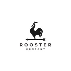 rooster with arrow vector logo design