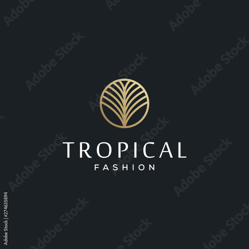 tropical palm leaves for fashion brand vector icon logo design Canvas Print