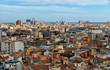 VALENCIA, SPAIN: Over the roofs of Valencia, Spain. Aerial view of the historic cityscape from Valencia Cathedral.