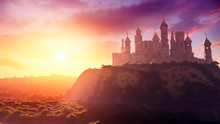 Concept Art Of Majestic Ancient Castle At Sunset With Natural Environment