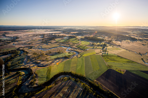 Gris traffic Farmland Outback Hot Air Ballooning Aerial View