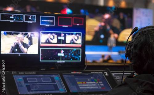 Video camera viewfinder - recording show in TV studio - focus on camera Canvas Print