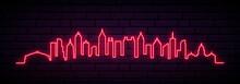 Red Neon Skyline Of Atlanta City. Bright Atlanta Long Banner. Vector Illustration.