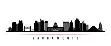 Sacramento City Skyline Horizontal Banner. Black And White Silhouette Of Sacramento City, California USA. Vector Template For Your Design.