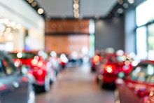 Blur View Of New Modern Car In Showroom