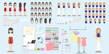 Cartoon Character With Fashion Designer Job For Animation. Lady Head Set, Front, Side, Back, 3-4 View Character. Separate Parts Of Body. Flat Vector Illustration. 078