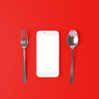 canvas print picture - Smartphone with spoon and fork on red background. Food online delivery concept. 3d rendering