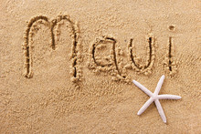 Maui Beach Writing Message Sum...
