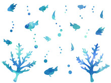 Blue Watercolor Fish