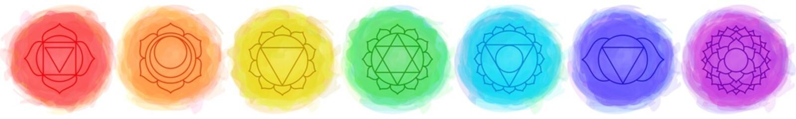 Chakras set: muladhara, swadhisthana, manipura, anahata, vishuddha, ajna, sahasrara. Vector line symbol. Om sign. Smoky circles. Watercolor style. Sacral icon. Meditation
