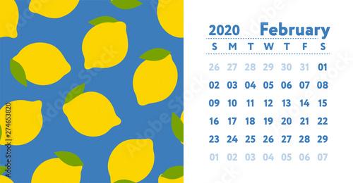 2020 February Calendar Fresh Calendercom Calendar 2020. February month. Vector English wall calender. Lemon