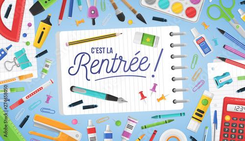 Fotomural C'est la rentrée - Rentrée des classes - Bannière de rentrée scolaire colorée, avec des fournitures de bureau