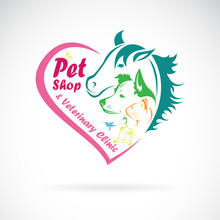 Vector Of Pet Shop And Veterinary Clinic On A White Background. Pet. Animals., Pet Shop Logo Or Icon. Easy Editable Layered Vector Illustration.